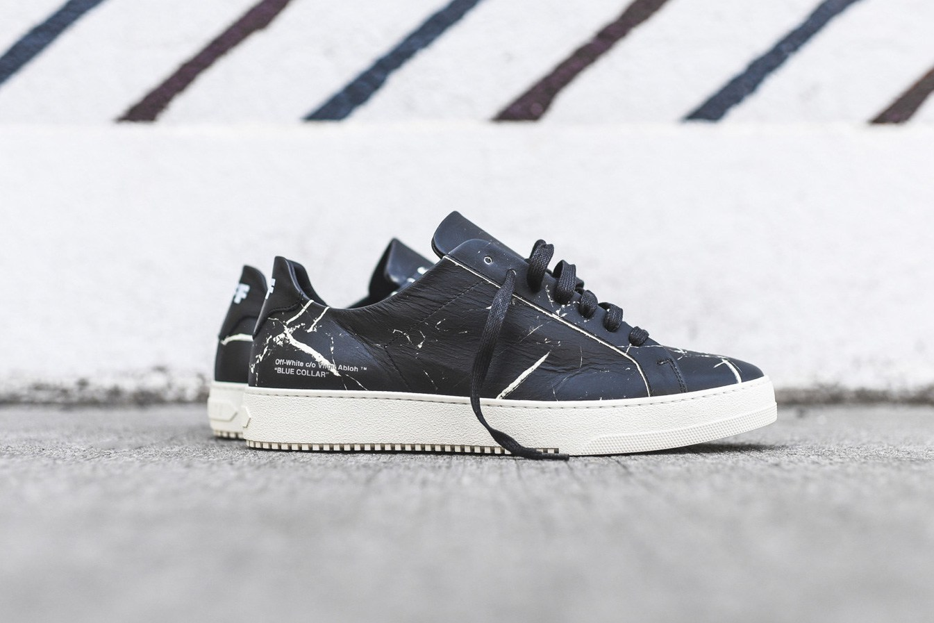 7275eef722c OFF-WHITE Sneakers in Marble Print and Perforated Leather