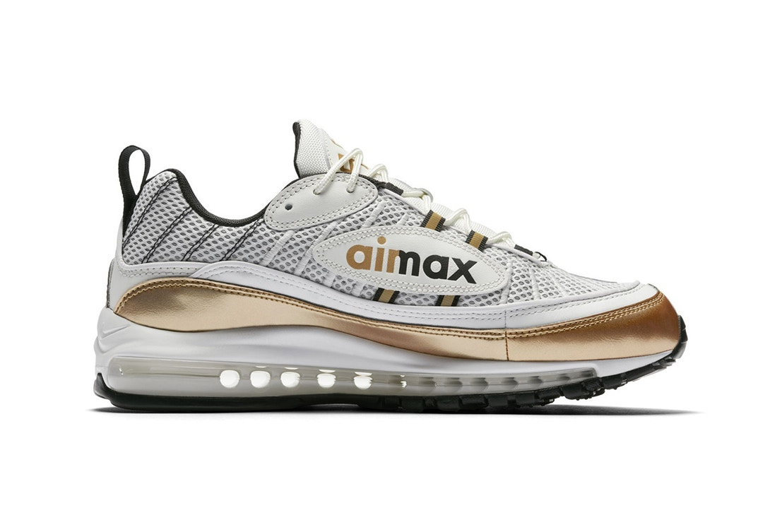 3911b3d843 ... and gold colorway; nike air max 98 uk white gold 06 trapped magazine